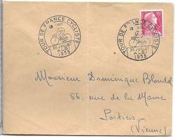 SPORT CYCLISME CACHET POSTAL ETAPE TOUR DE FRANCE 20 JUILLET 1955 VILLE ALBI - Cyclisme