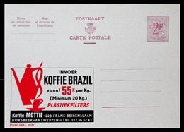 BELGIQUE ENTIER CP PUBLIBEL N° 2129 .KOFFIE BRAZIL . BORSBEEK - ANTERPEN   . NEUF - Stamped Stationery