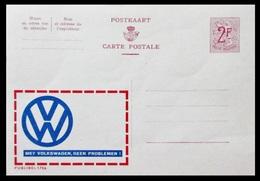 BELGIQUE ENTIER CP PUBLIBEL N° 1756 / 1789.  MET VOLHSWAGEN  . NEUF - Stamped Stationery