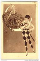 Illustration - Pierrot Et Colombine - Quart De Lune - 2 Scans - Fantaisies
