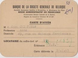 Belgique Carte D'accès Banque De La Société Générale. - Cartes