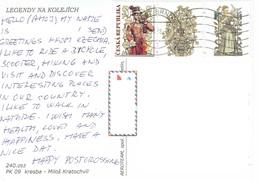 25C : Czech Republic Trumpet Uniform Man Stamp Used On Electric Tram Postcard - Czech Republic