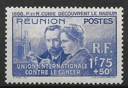 REUNION : PIERRE & MARIE CURIE N° 155 NEUF * GOMME PETITE CHARNIERE - TB CENTRE - TRES FRAIS - Reunion Island (1852-1975)