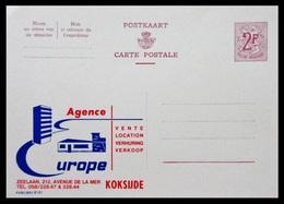 BELGIQUE ENTIER CP PUBLIBEL N° 2121. AGENCE EUROPE . KOKSIJDE . NEUF - Stamped Stationery