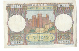 BILLET MAROC CENT FRANCS 09/01/1950  TB ( Banque état Du Maroc ) - Marruecos