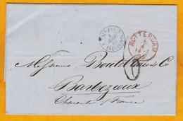 1865 - LAC De Rotterdam, Pays Bas Vers Barbezieux, Charente, France Via Erquelines 2, Belgique, Paris, Convoyeur - Marcofilia