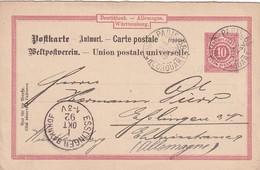 WÜRTTEMBERG 1892    ENTIER POSTAL/GANZSACHE/POSTAL STATIONERY  REPONSE DE PARIS POUR ESSLINGEN - Stamped Stationery