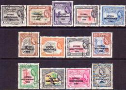GUYANA 1966-67 SG 385//398 Part Set Used Only 6c Missing Wmk Wmk Mult.Crown Block CA Upright - Guyana (1966-...)