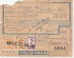 Bulletin Colis Postal 6884 / Timbre 100 F  40 F  2 F / Griffe Dompierre Sept Fins 03 Allier - Paketmarken