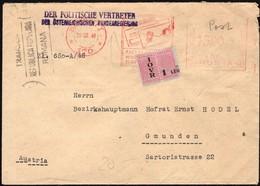 Romania - Der Politische Vertreter Der Österreichischen Bundesregierung, Bucuresti 28.1.1948 - Gmunden. - 1948-.... Républiques