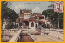 1923 - Affranchissement 4 Cents Surch Timbre Tchongking De Saigon, Annam, Indochine Vers Paris, France, Vue Pagode Dakao - Lettres & Documents