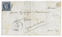 """1851 - CERES 25c YT N°4 Sur LETTRE De DIEUZE (MOSELLE) Avec T14 + GRILLE + BOITE RURALE """"R"""" NON IDENTIFIEE => SELESTAT - 1849-1876: Klassieke Periode"""