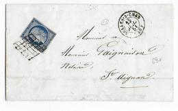 1851 - CERES 25c YT N°4 Sur LETTRE De SELLES SUR CHER (LOIR ET CHER) Avec T15 + GRILLE => ST AIGNAN - Postmark Collection (Covers)