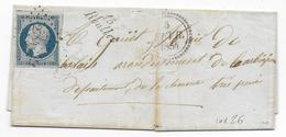 1854 - REPUB. 25c YT N°10 Sur LETTRE De ROULLET (CHARENTE) Avec CURSIVE + PC 2744 - RARE ! - 1849-1876: Période Classique