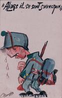 Marandaz, Armée Suisse Humour, Alors Il Se Sent Souverain, Aquarelle (306) - Illustratori & Fotografie