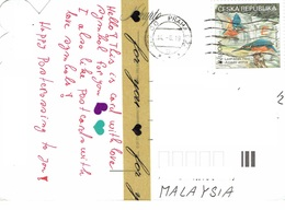 25C : Czech Republic Kingfisher Bird Stamp Used On Erotic Male Female B & W Postcard - Czech Republic