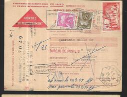 France Bulletin Contre Remboursement  Taxé   Du 19 091954  Par Forbach - France