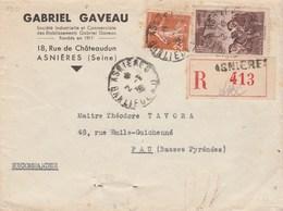 Yvert 235 Semeuse + 390 Sur Lettre Recommandée Entête Gaveau ASNIERES Seine 2/9/1938 Pour Pau Basses Pyrénées - France