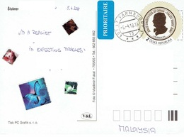 25C : Czech Republic Personality Silhoutte Round Shape Stamp Used On Pozdrav Postcard - Czech Republic