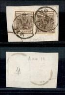 Antichi Stati Italiani - Lombardo Veneto - 1850 - Due 30 Cent (7) Su Frammento - Bella Falla Di Stampa Sul Pezzo Di Sini - Timbres