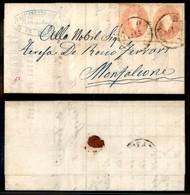Antichi Stati Italiani - Lombardo Veneto - 5 Soldi (33) - Coppia Su Letterina Da Dolo A Monfalcone Del 21.2.63 - Stamps