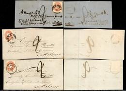 Antichi Stati Italiani - Lombardo Veneto - 1861 - Tre Frontespizi Col 5 Soldi (33) Da Verona A Milano - Tassati - Timbres