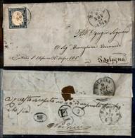Antichi Stati Italiani - Sardegna - 20 Cent (15Db) Su Lettera Da Modena A Bologna Del 6.11.61 - P.L. Al Retro - Timbres