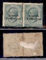 Occupazioni I Guerra Mondiale - Trentino-Alto Adige - 1918 - 5 Cent Leoni (21C+21) - Coppia Orizzontale - Pezzo Di Sinis - Stamps