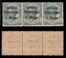 Occupazioni I Guerra Mondiale - Trentino-Alto Adige - 1918 - 5 Heller Su 5 Cent (28) - Striscia Di 3 - Gomma Integra (37 - Non Classés