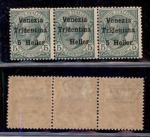 Occupazioni I Guerra Mondiale - Trentino-Alto Adige - 1918 - 5 Heller Su 5 Cent Leoni (28+28d+28) - Striscia Orizzontale - Stamps
