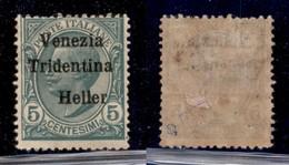 Occupazioni I Guerra Mondiale - Trentino-Alto Adige - 1918 - 5 Heller Su 5 Cent Leoni (28d) - Senza 5 - Gomma Originale  - Unclassified