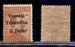 Occupazioni I Guerra Mondiale - Trentino-Alto Adige - 1918 - 20 Heller Su 20 Cent Michetti (30c) - Senza 2 - Gomma Integ - Non Classés