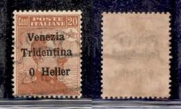 Occupazioni I Guerra Mondiale - Trentino-Alto Adige - 1918 - 20 Heller Su 20 Cent Michetti  (30c) - Senza 2 - Usato (150 - Non Classés