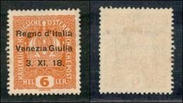 Occupazioni I Guerra Mondiale - Venezia Giulia - 1918 - 6 Heller (3l) Senza Punto Sulla I - Gomma Originale (50) - Timbres