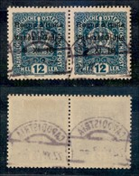 Occupazioni I Guerra Mondiale - Venezia Giulia - 1918 - 12 Heller (5l+5) - Senza Punto Sulla I + Normale - Coppia Usata - Stamps
