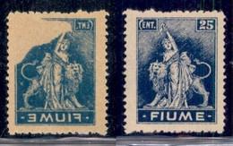 Occupazioni I Guerra Mondiale - Fiume - 1919 - 25 Cent (A 38q) Con Decalco Parziale - Gomma Originale - Stamps