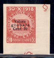 Occupazioni I Guerra Mondiale - Fiume - 1920 - 10 Su 10 Cent Valore Globale (100/Id) Non Dentellato - Angolo Di Foglio - - Stamps