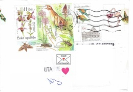 25C : Czech Republic Bird, Praying Mantis, Orchid Flower Stamp Used On Cover - Tschechische Republik