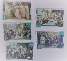 Cendrion - Lot De 5 Cartes Postales - Film Pathé - Colorisées - Circulées:1909 - 2 Scans - Contes, Fables & Légendes