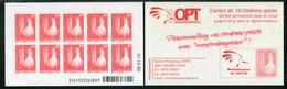 """CARNET** De 2010 De 10 TIMBRES """"Cagou Et Pins Colonnaires, Rouge Type Ramon, Phil@poste """" Avec Date 09.01.12 - Booklets"""