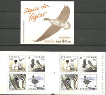 Sweden 1994 Worldwide Conservation: Birds Mi 1847-1850 X 2 In Booklet MH 197, MNH(**) - Suède