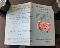 1948 CARTE UNION ARTISANS REGION DU NORD GARAGISTE AUTOS ORIGNY EN THIERACHE AISNE 02 UARN TIMBRE FISCAL GARAGE - Historische Dokumente