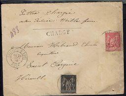 Fr - 1899 - Enveloppe Chargée, Valeur Déclarée, De Sallèles D'Aude Pour St Pargoire - Affranchissement Sage 98 + 103 - - Postmark Collection (Covers)