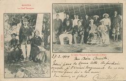 Le Chef Teraupoo à Raiatea Et La Reine Tuarii Et Son Conseil à Avera Timbrée Tahiti Vers Clairegoutte Par Ronchamp - French Polynesia
