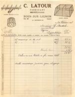 FACTURE 1938 C. LATOUR FABRICANT A BOEN SUR LIGNON - France