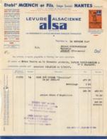FACTURE 1947 ALSA LEVURE ALSACIENNE ETS MOENCH ET FILS A NANTES - France