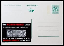 BELGIQUE ENTIER CP PUBLIBEL N° 2390 F. Ets ROBERFROID . CINEY . MEUBLES SERIEUX DE WALLONIE .  NEUF - Stamped Stationery