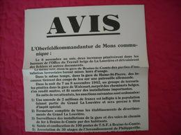 Avis Authentique émanant Oberfeldkommandantur De Mons 1942 (représailles Suite Attentats) - 1939-45