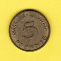 """GERMANY  5 PFENNIG 1950 """"F"""" (KM # 107) #5335 - [ 7] 1949-… : FRG - Fed. Rep. Germany"""