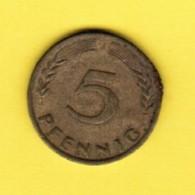 """GERMANY  5 PFENNIG 1950 """"J"""" (KM # 107) #5336 - [ 7] 1949-… : FRG - Fed. Rep. Germany"""